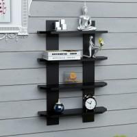 DriftingWood Ladder Shape Wooden Wall Shelf (Number Of Shelves - 1, Black)