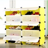 Ibs Rack Multipurpose Adjustable Modular Clothes Plastic 10 Cube Shoes Interlocking Organiser Storage Box Plastic Wall Shelf (Number Of Shelves - 10, Yellow)