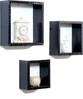 Importwala Black Crocco Leatherite (PU) Wall Shelves - Set Of 3 MDF Wall Shelf (Number Of Shelves - 3, Black)