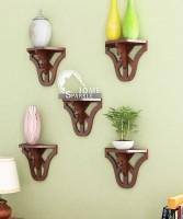 Home Sparkle Set Of 5 Carved MDF Wall Shelf (Number Of Shelves - 5, Brown)