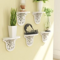 Home Sparkle Set Of 5 Carved MDF Wall Shelf (Number Of Shelves - 5, White)