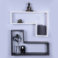 Dcjc Dcjc Tetris Shelf Black & White 1 - Set Of 2 MDF Wall Shelf (Number Of Shelves - 2, Multicolor)