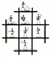 Decor India Craft Black Multi Utility Wall Shelf MDF Wall Shelf (Number Of Shelves - 4, Black)