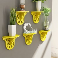 Home Sparkle Set Of 5 Carved MDF Wall Shelf (Number Of Shelves - 5, Yellow)