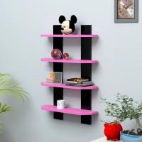 DriftingWood Ladder Shape Wooden Wall Shelf (Number Of Shelves - 4, Pink, Black)