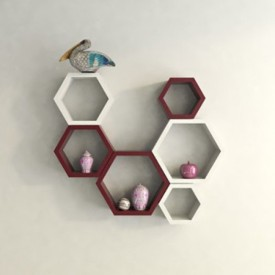 Wallz Art Hexagon Shape MDF Wall Shelf