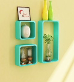 Home Sparkle Cube Shaped Wooden Wall Shelf