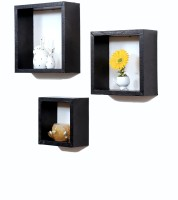 Importwala Black Leatherite (PU) Wall Shelves - Set Of 3 MDF Wall Shelf (Number Of Shelves - 3, Black)