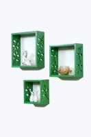 Importwala Green Wall Shelves Set Of 3 MDF Wall Shelf (Number Of Shelves - 3, Green)