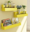 Home Sparkle Set Of 3 Pocket MDF Wall Shelf (Number Of Shelves - 3, Yellow)