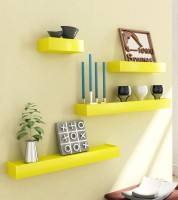 Home Sparkle Wall Nesting Set Of 4 MDF Wall Shelf (Number Of Shelves - 4, Yellow)
