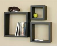 Surya Industries Nesting Square Set Of 3 Black MDF Wall Shelf (Number Of Shelves - 3, Black)