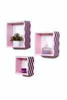 Importwala Handpainted Pink & Navy Finish Wall Shelves- Set Of 3 MDF Wall Shelf (Number Of Shelves - 3, Pink)