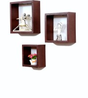 Importwala Mountain Brown Leatherite (PU) Wall Shelves - Set Of 3 MDF Wall Shelf (Number Of Shelves - 3, Brown)