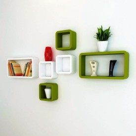 Ganeshaas GHWSCB2x10413WhitenGreen MDF Wall Shelf