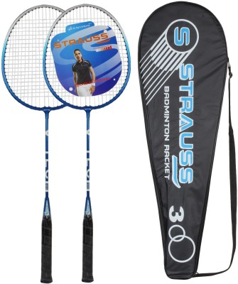 Strauss V Tech 1012 Badminton Racquet 2 Pieces with Cover (Black/Blue) G4 Strung Badminton Racquet (Black, Blue, Weight - 700 g)
