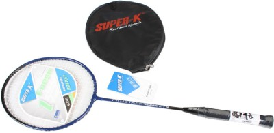 Super-K Ferroalloy Badminton  (With Half Cover) G4 Badminton Racquet (Blue, Weight - 200gms)