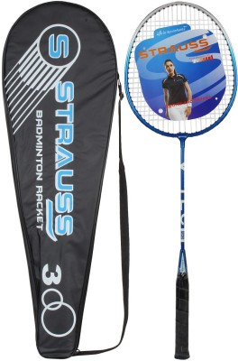Strauss V-Tech 1012 Badminton Racquet with Full Cover (Black/Blue) G4 Strung Badminton Racquet (Black, Blue, Weight - 450 g)