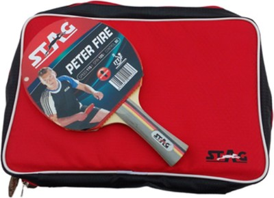 Stag Peter Fire With Deluxe Case Flat Grip Unstrung Table Tennis Racquet (Red, Black, Weight - 80 g)