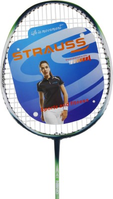 Strauss Nano Spark Badminton Racquet 2 Pieces with cover (Green) G4 Strung Badminton Racquet (Green, Weight - 700 g)