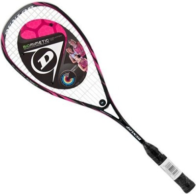 Dunlop Biomimetric Evolution 120 G4 Strung Squash Racquet (Black, Pink, Weight - 120 g)