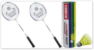 Cosco CB-885 and Aero 727 Nylon Shuttle Cock G5 Strung Badminton Racquet (Red, Black, Yellow, Pink, Multicolor, Weight - 300 g)
