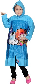 HighLands Allover Blue Graphic Print Baby Girl's Raincoat