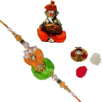 ECraftIndia Single Rakhi With Lord Ganesha Playing Dholak And Roli Tikka Matki Design Designer Rakhi (Multicolor, 1 Designer Single Rakhi, 1 Roli Tikka Matki, 1 Lord Ganesha Playing Dholak)