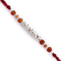 Aapno Rajasthan American Diamonds And Rudraksh Jewelled Design Designer Rakhi (Brown, Silver)