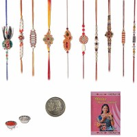 Little India Design Designer Rakhi (Multicolor, 10 Designer Rakhi, 1 Pooja Coin, 1 Pack Roli, 1 Greeting Card, 1 Pack Rice)
