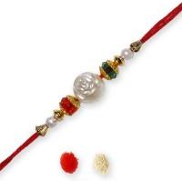 Send Rakhis To India Design Thread Rakhi (Multicolor, Rakhi, Roli, Chawal)