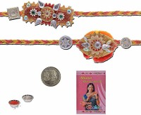 Little India Design Designer Rakhi (Multicolor, 2 Designer Rakhees, 1 Pooja Coin, 1 Pack Roli, 1 Greeting Card, 1 Pack Rice)