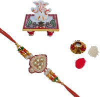 ECraftIndia Design Designer Rakhi Multicolor, 1 Designer Single Rakhi, 1 Roli Tikka Matki, 1 Lord Ganesha On Marble Chowki