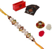 ECraftIndia Single Rakhi With Tea Coaster And Roli Tikka Matki Design Designer Rakhi (Multicolor, 1 Designer Single Rakhi, 1 Roli Tikka Matki, 1 Tea Coaster)
