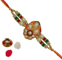 ECraftIndia Single Rakhi And Roli Tikka Matki Design Designer Rakhi (Multicolor, 1 Designer Single Rakhi, 1 Roli Tikka Matki)
