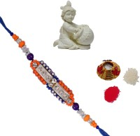 ECraftIndia Single Rakhi With Laddu Gopal Statue And Roli Tikka Matki Design Designer Rakhi Multicolor, 1 Designer Single Rakhi, 1 Roli Tikka Matki, 1 Laddu Gopal Statue
