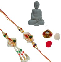 ECraftIndia Design Bhaiya Bhabhi Rakhi (Multicolor, 1 Designer Bhaiya Bhabhi Rakhi Set, 1 Roli Tikka Matki, 1 Pure White Resting Buddha On Knee)