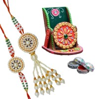 ECraftIndia Rakhi Set For Bhaiya-Bhabhi With Papier-Mache Mobile Stand & Roli Tikka Design Designer Rakhi Multicolor
