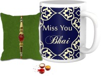 Tiedribbons Design Thread Rakhi (Multicolor, Coffee Mug, Pearl Rakhi, Roli Chawal)
