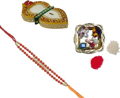 ECraftIndia Design Designer Rakhi Multicolor, 1 Designer Single Rakhi, 1 Decorative Pooja Plate, 1 Leaf Design Marble Chopra