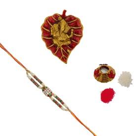 ECraftIndia Design Designer Rakhi (Multicolor, 1 Designer Single Rakhi, 1 Roli Tikka Matki, 1 Lord Ganesha On Red Leaf)
