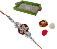 ECraftIndia Single Rakhi With Multipurpose Jewelled Wooden Utility Tray And Roli Tikka Matki Design Designer Rakhi Multicolor, 1 Designer Single Rakhi, 1 Roli Tikka Matki, 1 Multipurpose Jewelled Wooden Utility Tray