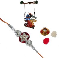 ECraftIndia Single Rakhi With Radha Krishna On Swing Wall Hanging And Roli Tikka Matki Design Designer Rakhi Multicolor, 1 Designer Single Rakhi, 1 Roli Tikka Matki, 1 Radha Krishna On Swing Wall Hanging