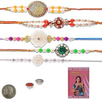Little India Design Designer Rakhi (Multicolor, 5 Pearl Rakhees, 1 Pooja Coin, 1 Pack Roli, 1 Greeting Card, 1 Pack Rice)