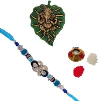 ECraftIndia Single Rakhi With Lord Ganesha On Green Leaf And Roli Tikka Matki Design Designer Rakhi (Multicolor, 1 Designer Single Rakhi, 1 Roli Tikka Matki, 1 Lord Ganesha On Green Leaf)