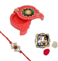 ECraftIndia Wooden Chopra And Decorative Pooja Plate With Design Rudraksh Rakhi (Multicolor, 1 Designer Single Rakhi, 1 Decorative Pooja Plate(having Roli And Rice), 1 Wooden Chopra)