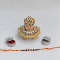 ECraftIndia With Lord Ganesha Chowki & Roli-Tikka For Your Beloved Brother Design Designer Rakhi Multicolor