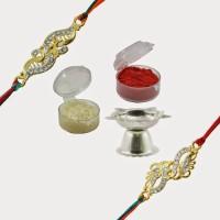 Alphaman BFF's Forever 2 Floral Design Designer Rakhi (Gold, Silver)