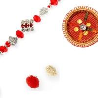Send Rakhis To India Design Thread Rakhi Multicolor, Rakhi, Thali, Roli, Chawal