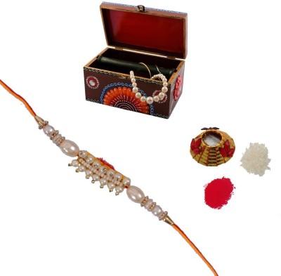 ECraftIndia Single Rakhi With Kundan Jewellery Box And Roli Tikka Matki Design Designer Rakhi (Multicolor, 1 Designer Single Rakhi, 1 Roli Tikka Matki, 1 Kundan Jewellery Box)